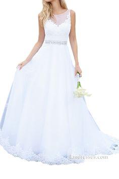 Women´s A-line Sheer Back Wedding Bridal Dress http://www.ikmdresses.com/Womens-A-line-Sheer-Back-Wedding-Bridal-Dress-p89095