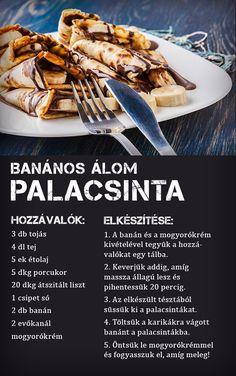 A palacsinta és a banán kombinációja egy igazi reggeli energiabomba! Próbáld ki Te is! :) #banan #palacsinta #reggeli #energia #recept #tesco #tescomagyarorszag Hungarian Food, Hungarian Recipes, Waffles, Pancakes, Food And Drink, Beef, Cooking, Healthy, Desserts