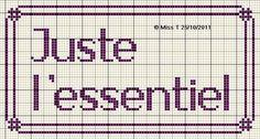 brodeuse - embroiderer - juste l'essentiel - point de croix - cross stitch - Blog : http://broderiemimie44.canalblog.com/