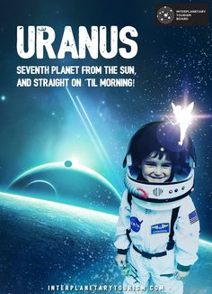 The future is coming, and in it, we have creative marketers in space who create creative marketing campaigns and adverts to promote the planets; Travel Icon, Bus Travel, Space Travel, Uranus Planet, Planet Project, Science Fiction Art, Adventure Quotes, Dog Snacks, Vintage Travel Posters