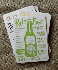 Rate Your Beer letterpress Coasters: The IPA Collection. $12.00, via Etsy. @Sunshine Giesbrecht