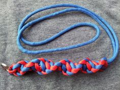 """""""DNA"""" lanyard in red and royal blue"""
