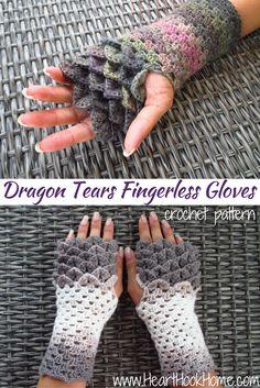 Dragón Tears guantes sin dedos Modelo del ganchillo