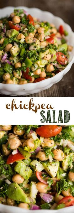 Chickpea Salad is a quick and easy throw together salad packed with raw vegetables and super foods. No cooking required! A quick mix of canned garbanzo beans avocado onion pepper celery tomatoes and a light lemon vinaigrette make a light and healthy Chickpea Salad Recipes, Healthy Salad Recipes, Raw Food Recipes, Vegetable Recipes, Vegetarian Recipes, Cooking Recipes, Garbanzo Bean Recipes, Raw Vegetable Salad, Recipes With Celery Vegan