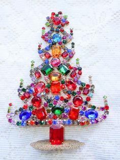 Vintage  Lot of 5 Czechoslovakia Glitter Dot Striped  Christmas Tree Ornaments