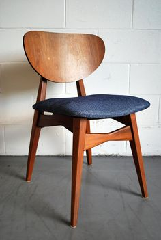 MId Century Modern Walnut Dining Chair with Knoll Upholstery. $225.00, via Etsy.