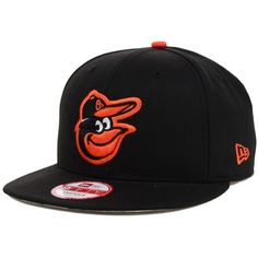 New Era Baltimore Orioles Mlb 2 Tone Link 9FIFTY Snapback Cap ($32) ❤ liked on Polyvore featuring men's fashion, men's accessories, men's hats, black, mens snapback hats and mens caps and hats