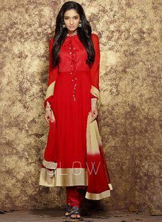 Outstanding Red Georgette Party Wear Salwar Kameez