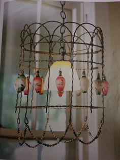chandelier out of old fencing wire