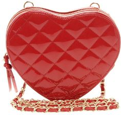 Asos Quilted Heart Across Body Bag in Red