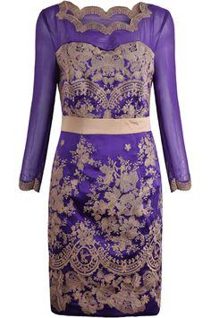 Purple Sheer Mesh Yoke Long Sleeve Embroidered Dress