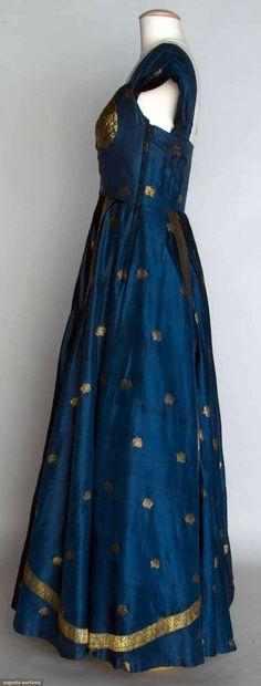 BLUE & GOLD EVENING DRESS, 1950 Blue silk taffeta w/ metallic gold brocade, fashioned from Indian sari,