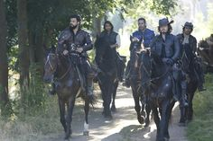 Howard Charles as Porthos, Luke Pasqualino as D'Artagnan, James Callis as Émile Bonnaire, Tom Burke as Athos and Santiago Cabrera as Aramis,