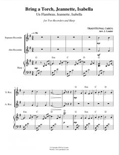 Bring a Torch, Jeannette, Isabella for Two Recorders and Harp | Janet Lanier Traditional Christmas Carols, Harp, Sheet Music, Bring It On, Music Sheets