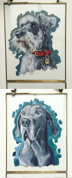 Gorgeous dog portraits, oil painted on a vintage glass photo-frame, available from Caroline Towning Art