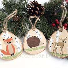 Hand Painted Wood Slice Ornaments, Woodland Animals Set, Hand Painted Ornaments, Chuldren Ornaments, Fox, Deer, Hedgehog, Wood Ornaments