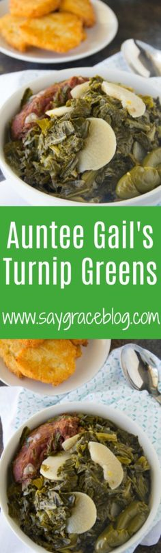 The only Southern Turnip Greens recipe you'll ever need! Be sure to pair them with my popular Hot Water Cornbread for some great eatin'! Veg Recipes, Turkey Recipes, Dinner Recipes, Cookbook Recipes, Drink Recipes, Delicious Recipes, Healthy Recipes, Turnip Greens, Thing 1