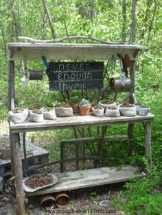 Rustic Potting Bench built from twigs or barn boards.