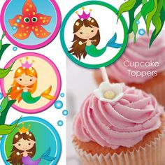 Mermaid Princess  Cupcake Toppers printable by LittlePumpkinsPix, $3.50