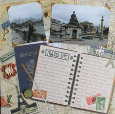 """Travel scrapbook page ...Idea: use a journal like the """"travel log"""" pictured that you find on your trip and then scrap book pictures into the journal. Smaller but not mini multimedia scrapbook."""