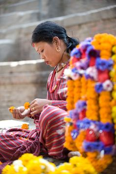 Flower Woman - Kathmandu, Nepal