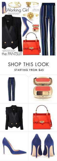"""""""The Pantsuit"""" by totwoo ❤ liked on Polyvore featuring Proenza Schouler, Dolce&Gabbana, Balmain, Balenciaga and Gianvito Rossi"""