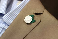 Petite boutonniere, mens lapel pin, button pin, felt rose in white, elegant and classic