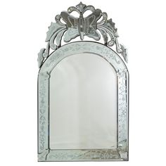 Mid Century Arched Venetian Glass Mirror with Butterfly
