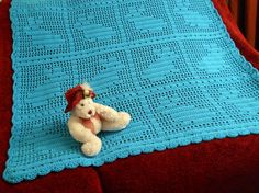 Crochet Baby Blanket with blue bunnies rabbits by CustomBearHugs, $120.00 #crochetbabyblanket #babyblanket #rabbitblanket #bunnyblanket