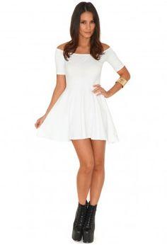 Mirabela Short Sleeve Bardot Skater Dress In White White Skater Dresses, White Dress, Bardot Skater Dress, Day Dresses, Dress Collection, Dress To Impress, New Dress, Dresser, Cold Shoulder Dress
