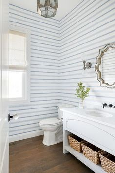 Blue striped powder room