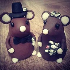 """My custom made mice cake toppers for my friend's tiered cheese board wedding """"cake"""" :)"""