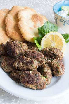 Greek meatballs with pita bread and yogurt sauce tzaziki