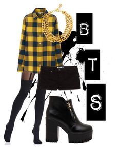 """""""BTS I need a girl inspired outfit Part2"""" by alinamauh ❤ liked on Polyvore featuring Pretty Polly, Uniqlo, MANGO, Ben-Amun, gold, shorts, kpop and bts"""