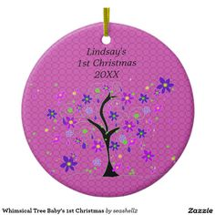 Whimsical Tree Baby's 1st Christmas Ornament #1st #Christmas #baby