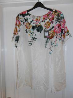 Joules Vivianne Blouse Top Size 18 BNWT cream floral print low postage RRP 39.95