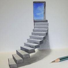 Drawings is an amazing form of art, where the pencil drawings seem to literally jump off the page. Most artists use graphite pencils for creating the look. Easy drawings are usually small 3d Pencil Drawings, Small Drawings, Sketchbook Drawings, Cool Art Drawings, Easy Drawings, Art Sketches, Stairs 3d Drawing, Easy 3d Drawing, 3d Art Drawing