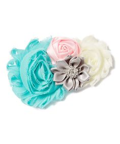 Aqua & Ivory Flower Clip - Girls #zulily #zulilyfinds