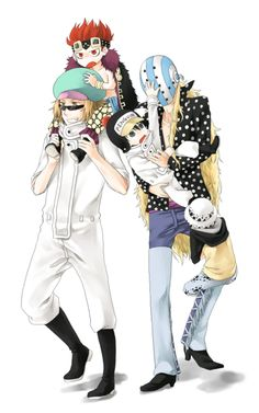Trafalgar Law . Eustass Kid , Penguin, Shachi and Killer #one piece