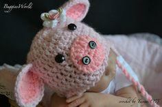 Crochet pig hat