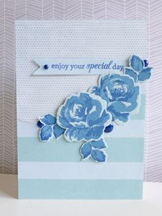 Enjoy your special day - 2015-05-15 - by the oh so talented and inspiring, koolkittymusings.typepad.com ! Monochromatic rainbow, blue, roses, stamps: Vintage Flowers by Altenew