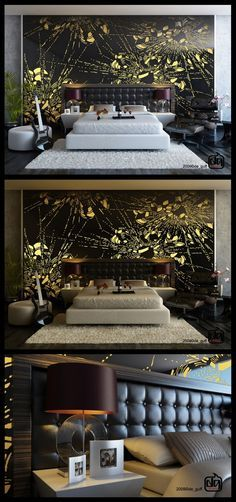 Abstract Black Yellow Wall Murals wit Luxury Bedding Sets and Dark Lounge Chairs in Modern Bedroom Design Ideas. Dark Lounge, Feature Wall Bedroom, Feature Walls, Modern Bedroom Design, Artistic Bedroom, Beautiful Interior Design, Luxury Bedding Sets, Luxury Decor, Wall Murals