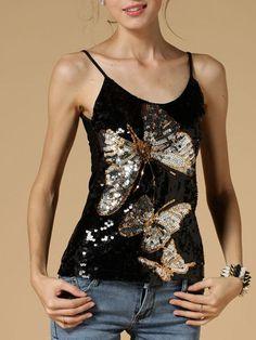 Fashionmia - Fashionmia Spaghetti Strap Sequin Butterfly Sleeveless T-Shirt - AdoreWe.com