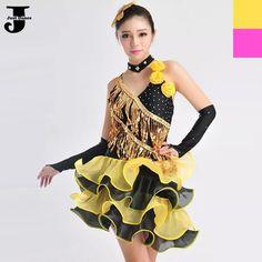 US $52.40 / piece 2015 New Latin Dance Dress Rose/Yellow Cha Cha/Rumba/Samba/Latin Dance Costumes For Women Vestidos De Baile Latino