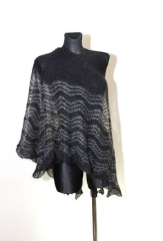 Goth Scarf, Hand Knit Shawl, Handknitted Shawl, Triangle Shawl, Mohair Shawl, Scarf, Christmas Gift Idea for Her by aboutCRAFTS on Etsy