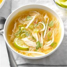 Thai Chicken Noodle Soup Recipe -This slow cooker soup is a semi-homemade version that coaxes all of the flavor out of a rotisserie chicken. All the prep work for this can be done the day before so you can toss it into the slow cooker with ease. —Beth Jacobson, Milwaukee, Wisconsin