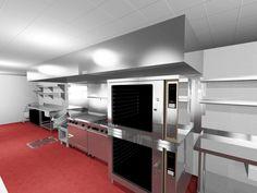 Luxury Restaurant Kitchen with Red Carpet Floor
