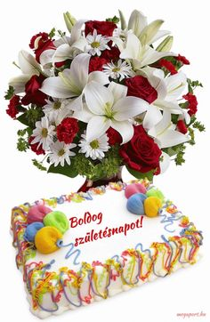 Boldog születésnapot! (animált GIF képeslap) - Megaport Media Birthday Cake Gif, Happy Birthday Wishes Cake, Happy Birthday Pictures, Birthday Name, Birthday Photos, Birthday Greetings, Share Pictures, Name Day, Good Morning Flowers
