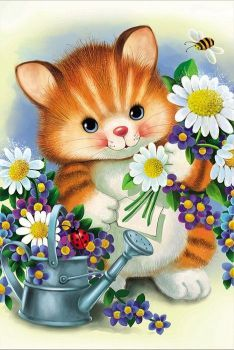 """The original scheme of embroidery """"Kitten"""" Cute Animals Images, Cute Cartoon Pictures, Cute Animal Pictures, Cute Images, Kitten Cartoon, Kitten Images, Children Sketch, Cat Cards, Cute Illustration"""