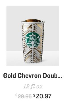 starbucks gold chevron double wall traveler